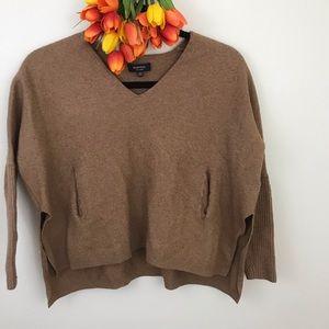 Babaton crop wool linen pocket sweater v-neck